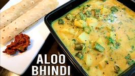 Aloo Bhindi Okra And Potato Curry Gujarati Style Aloo Bhindi Ki Sabzi Ladyfinger Curry Ruchi