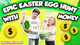 Giant Easter Egg Hunt  With Money  Inside Of Golden Surprise Eggs For Kids