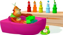 Learn Colors With Baby Monkey Bath Time And Soccer Balls Nursery Rhymes For Kids Children