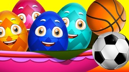 Surprise Eggs Nursery Rhymes Toys - Three Little Kittens - Games - Learn Colours and Sports Equipments