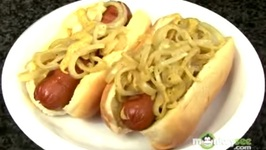 Tailgating Recipes - Grilled Knockwurst with Golden Onions