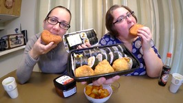 Korean Kimbap, Inarizushi And Curry Bun /Gay Family Mukbang- Eating Show