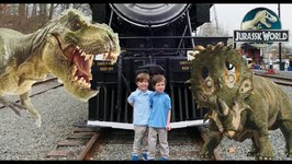 Dinosaur Escape Showdown - Train Ride and Egg Hunts with Giant Dinosaurs - Chase and Cole Adventures