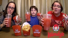 Wendy's Burgers, Fries And Strawberry Lemonade / Gay Family Mukbang - Eating Show