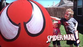 Giant Spiderman Balloon Pop And Surprise Toys Egg Opening And