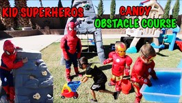 SUPERHERO CANDY OBSTACLE COURSE - GELLI BAFF SPIDER-MAN IRON MAN BATMAN