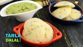 Vegetable Rava Idli With Coconut Chutney