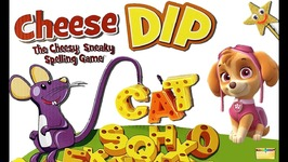 PAW PATROL Plays -CHEESE DIP- Board Game Night - Learning ABCs and Spelling Kids Video Surprise Toys