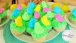 Peeps On Grass Easter Cupcakes With Lemon Filling