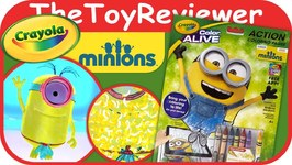 Minions Crayola Color Alive Action Coloring Pages Unboxing Toy Review