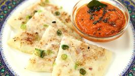 Onion Uttapam With Tomato Chutney - Onion Uttapa With Red Chutney Recipe - Breakfast Recipe - Varun