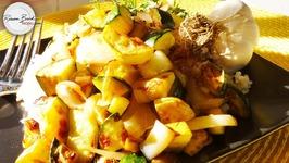 No-Guilt Veggie Stir Fry - Low Calorie - Zucchini And Yellow Squash