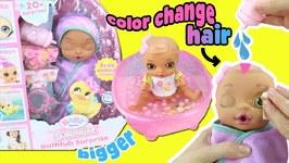 Baby Born Surprise Bathtub Surprise Doll Unboxing! BIGGER Diaper Surprises  Color Changing Hair