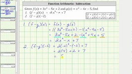 Function Arithmetic Difference - (f-g)(x) and (f-g)(-2) - Quadratic