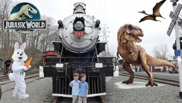 Jurassic World Easter Train Ride with Easter Bunny, Dinosaurs, T-Rex and Chase and Cole Adventures
