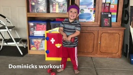 2 yr old shows Mom his Workout with Dumbbells