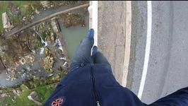 Walking high railing in 4K