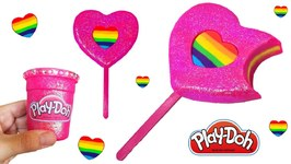 Play Doh Sparkle Ice Cream Making Rainbow Heart Ice Cream Popsicle Play Doh Toys for Kids