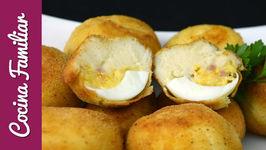 Croquetas de huevo relleno con jamón y queso - receta casera