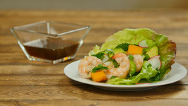 Vietnamese-Style Lettuce Wraps with Grilled Shrimp, Avocado, and Mango
