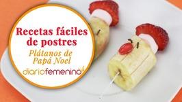 Cómo hacer unos divertidos plátanos de Santa Claus - Recetas de postres para Navidad