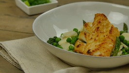 Vietnamese Broiled Cod With Asparagus, Peas, And Water Chestnut Stir-Fry