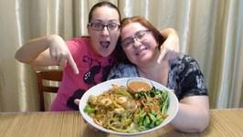 Peanut Butter Shrimp Japchae Noodles And Yu Choy -Gay Family Mukbang - Eating Show