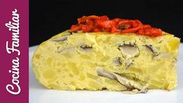 Tortilla de patatas o tortilla española con setas