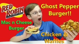 Ghost Pepper Burger And Mac N Cheese Hamburger  Chicken And Waffles - Red Robin Taste Test