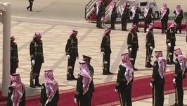 Saudi Royal Guard Awaits Arrival of Air Force One in Riyadh