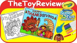 Thanksgiving Turkey Coloring Book Page Crayola Marker Color Unboxing Toy Review