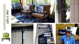 Use Painter's Drop Cloths As Anchored Outdoor Curtains