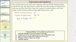 Writing Expressions to Solve a Linear Equation App- Ticket Sales