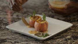 Peaches N Cream- Creme Brulee With Vodka Peach Sauce