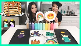Pancake Art Challenge - Learn How To Make Fidget Spinner And Emoji With Princess ToysReview