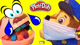 DENTIST PAW PATROL CHASE Brushes Dr Drill n Fill Play Doh Candy Teeth - LEARN COLORS Kids Video