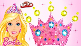 Making With Play Doh Barbie Sparkle Crown Disney Princess Glitter Dress Modelling Clay For Kids