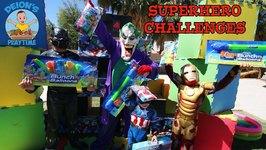 SUPERHERO BUNCH O BALLOONS CHALLENGES - SLIME - BOX TARGETS