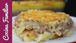 Pastel de carne gratinado con puré de patatas - Recetas caseras