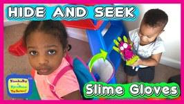 Find Your Slime Ingredients Challenge : Hide and Seek Slime Gloves Challenge