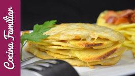 Milhojas de pollo con patatas gratinado con queso paso a paso