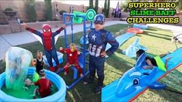 SUPERHERO SLIME BAFF CHALLENGES - SLIP & SLIDE
