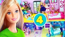 4 DIY Miniature Barbie Dollhouse Bedrooms