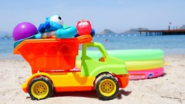 Toys at the Beach- Learn Colors with Cars in Sand- Sea Animals Molds and Numbers for Babies