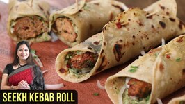 Chicken Kebab Roll Recipe - How To Make Chicken Seekh Kebab In Philips Air Fryer - Smita Deo