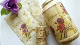 DOLLAR TREE DIY SHABBY CHIC - UPCYCLED COFFEE CONTAINER - DECOUPAGE MOD PODGE CRAFTS
