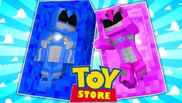 THE PINK POWER RANGER DOLL COMES TO LIFE!! (Minecraft ToyStore) w/Little Carly and Little Kelly