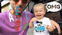 Toddler Learns His Vowels With Dad's Encouragement