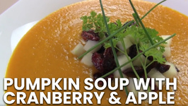 Pumpkin Soup With Cranberry And Apple - Thanksgiving Recipe