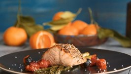 Cote Azur Roasted Salmon - Roasted Asparagus, Trio Of Zest